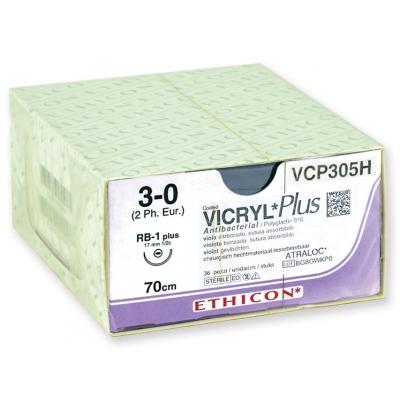 ETHICON VICRYL PLUS ABSORBOVATELNÉ SUTURY - měřidlo 3/0 jehla 17 mm - pletená