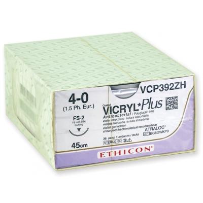 ETHICON VICRYL PLUS ABSORBOVATELNÉ SUTURY - měřidlo 4/0 jehla 19 mm - pletená