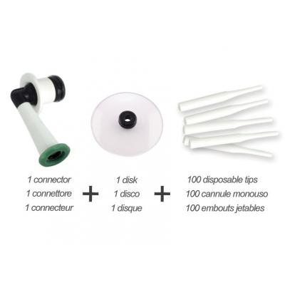 SET DISPOSABLE TIPS (100 tipů, 1 disk, konektor)