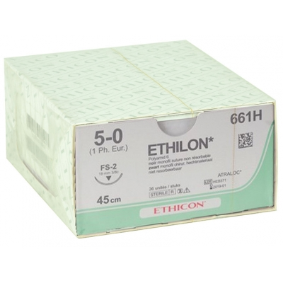 ETHICON ETHILON MONOFILAMENT SUTURES - měřidlo 5/0 jehla 19 mm