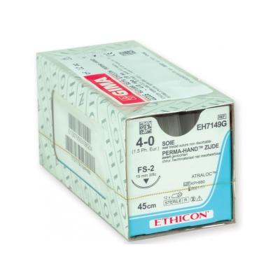 ETHICON PERMA-HAND SILK SUTURES - kaliber 4/0 jehla 19 mm - pletená