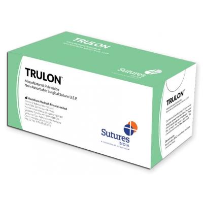 TRULON NE ABSORB. SUTURE měřidlo 6/0 kruh 3/8 jehla 12 mm - 45 cm - modrá