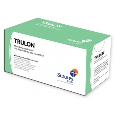 TRULON NE ABSORB. SUTURE měřidlo 5/0 kruh 3/8 jehla 19 mm - 75 cm - černá