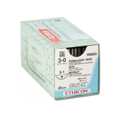 ETHICON PERMA-HAND SILK SUTURES - měřidlo 3/0 jehla 22 mm - pletená