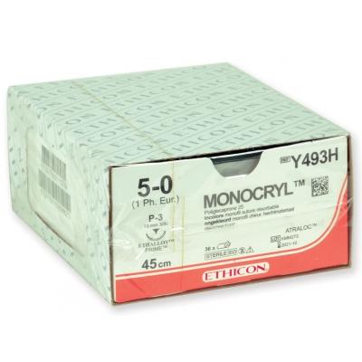 ETHICON MONOCRYL ABSORBABLE SUTURES - měřidlo 5/0 jehla 13 mm