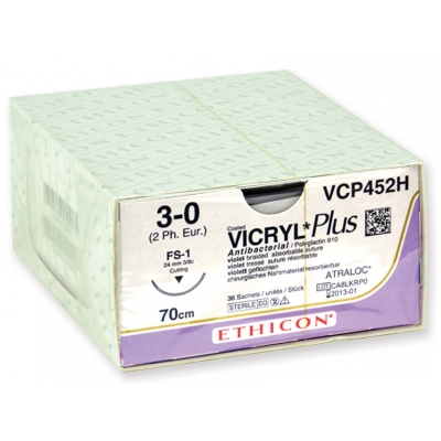ETHICON VICRYL PLUS ABSORBOVATELNÉ SUTURY - měřidlo 3/0 jehla 24 mm - pletená