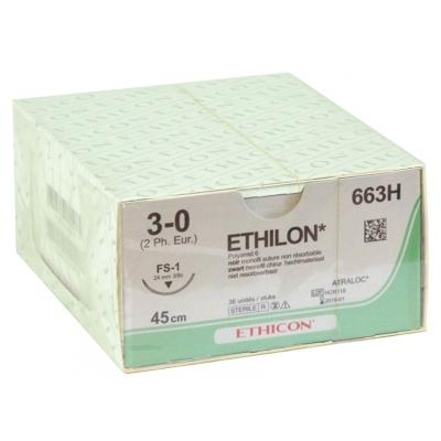 ETHICON ETHILON MONOFILAMENT SUTURES - měřidlo 3/0 jehla 24 mm