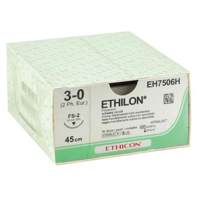 ETHICON ETHILON MONOFILAMENT SUTURES - měřidlo 3/0 jehla 19 mm